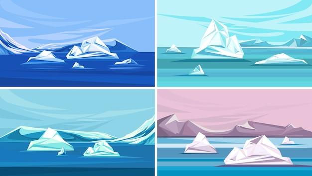 Kolekcja krajobrazów z topniejącym lodem. sceneria bieguna północnego.