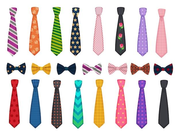 Kolekcja krawatów. męskie garnitury akcesoria, kokardki i krawaty wykonane ilustracje. akcesoria do krawatów, ubrania w paski, kolekcja muszek do krawatów