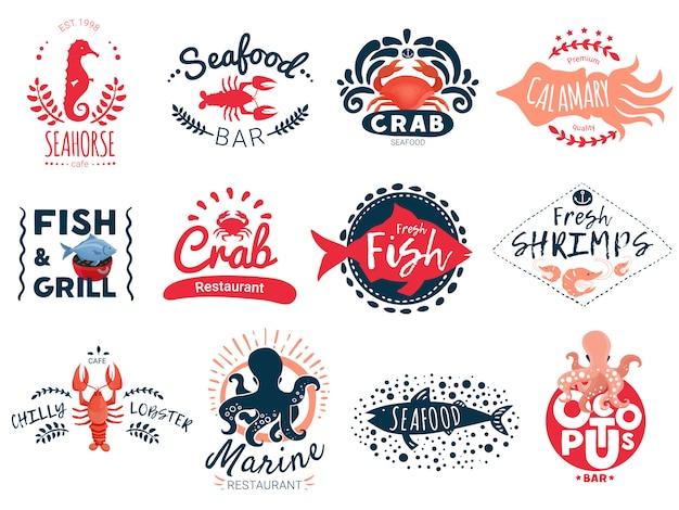 Kolekcja kreatywnych emblematów z owocami morza