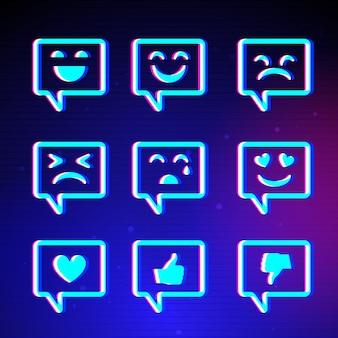 Kolekcja kreatywnych emotikonów glitch