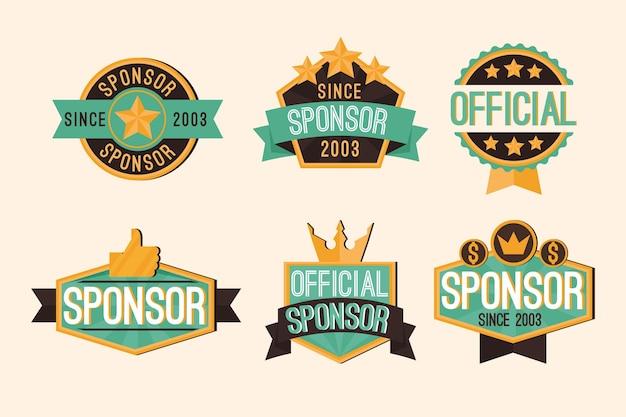 Kolekcja kreatywnych etykiet sponsorujących