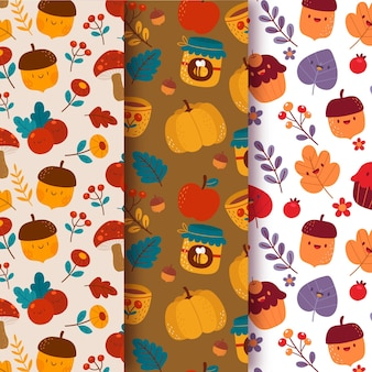 Kolekcja kreatywnych jesiennych wzorów