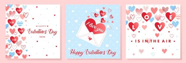 Kolekcja kreatywnych kart na walentynki. ręcznie rysowane napis z sercami, strzałami i listem miłosnym. romantyczne ilustracje idealne na grafiki, ulotki, plakaty, zaproszenia na wakacje i nie tylko.