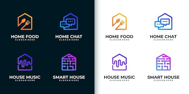 Kolekcja kreatywnych kolorowych logo domu, w stylu grafiki liniowej