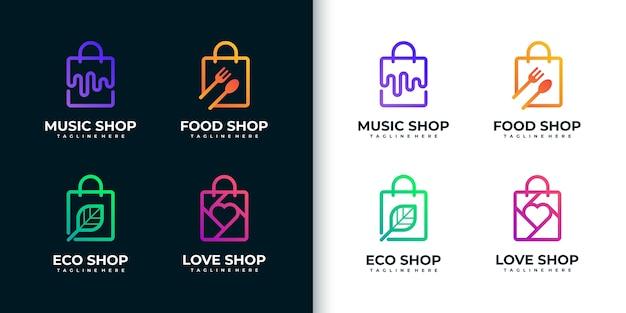 Kolekcja kreatywnych kolorowych logo zakupów w stylu grafiki liniowej