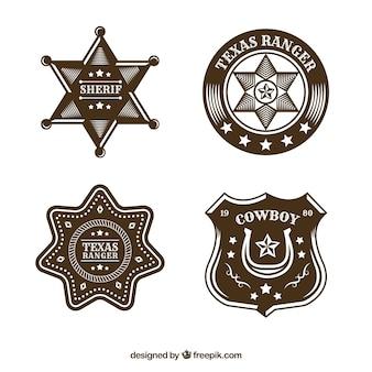 Kolekcja kreatywnych kowbojskich etykiet