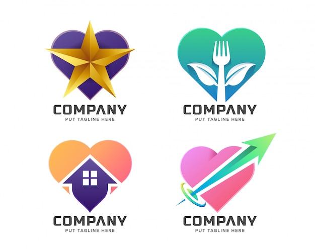 Kolekcja kreatywnych logo kolorowe miłości