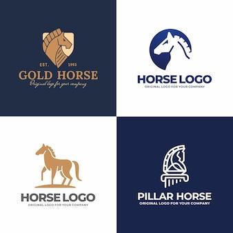 Kolekcja kreatywnych logo konia.
