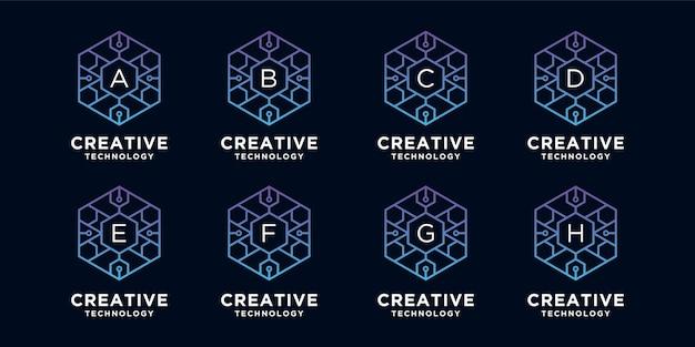 Kolekcja kreatywnych logo technologii w stylu sześciokąta