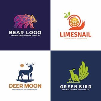 Kolekcja kreatywnych logo zwierząt.