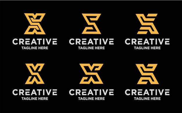 Kolekcja kreatywnych projektów logo litery x.