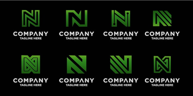 Kolekcja kreatywnych projektów logo z literą n.