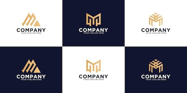 Kolekcja kreatywnych szablonów logo monogram litery m