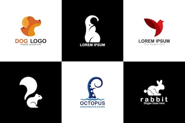 Kolekcja kreatywnych zwierząt logo