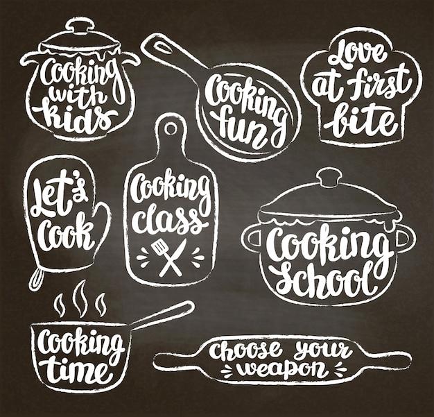 Kolekcja kredowych teksturowanych konturów gotowania