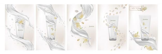 Kolekcja kremu jaśminowego. plusk mleka z kwiatem jaśminu. zestaw realistycznych ilustracji 3d