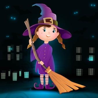 Kolekcja kreskówek halloween czarownica postać z ciemnym tłem miasta, nietoperzami i blaskiem w ciemności.