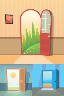 Kolekcja kreskówek otwartych drzwi. zestaw czterech uroczych drzwi.