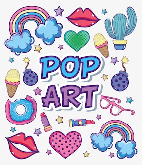 Kolekcja kreskówek pop-artu