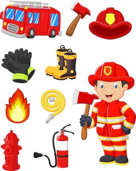 Kolekcja kreskówek sprzętu przeciwpożarowego