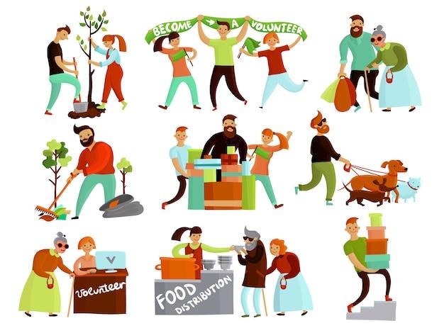 Kolekcja kreskówek sytuacji wolontariatu
