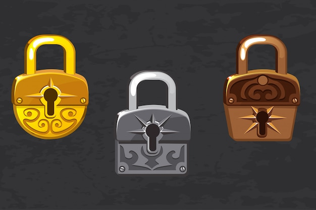 Kolekcja kreskówek ze złotymi, srebrnymi i brązowymi kłódkami. ikony interfejsu użytkownika gry i aplikacji, elementy projektu.