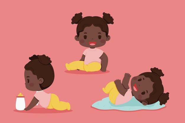 Kolekcja kreskówka czarny dziecko