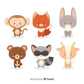 Kolekcja kreskówka dzikich zwierząt