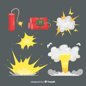 Kolekcja kreskówka efekt wybuchu