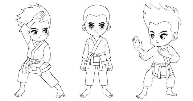 Kolekcja kreskówka karate dziecko używane do kolorowanka