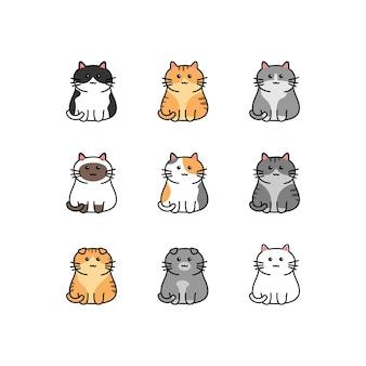Kolekcja Kreskówka ładny Kot Na Białym Tle Premium Wektorów