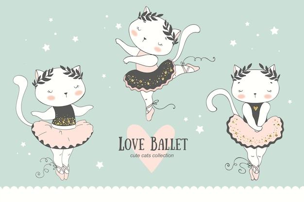 Kolekcja kreskówka ładny mały kot tancerz baleriny