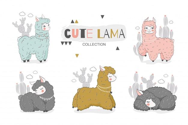 Kolekcja kreskówka lamy dla dzieci. ładny charakter zwierząt. ręcznie rysowane ilustracji