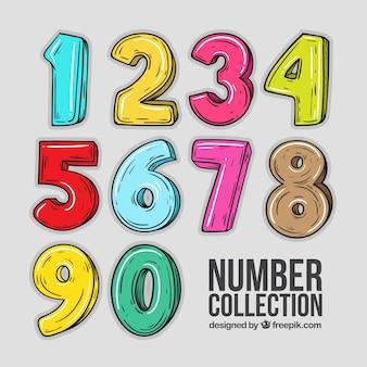 Kolekcja kreskówka numer z kolorowym stylu