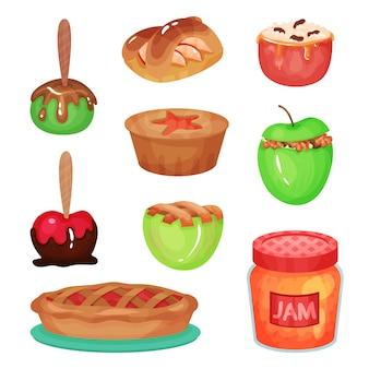 Kolekcja kreskówka różnych deserów jabłkowych. przezroczysty szklany słoik z pysznym dżemem. domowe słodycze. kolorowe ikony żywności. płaska ilustracja