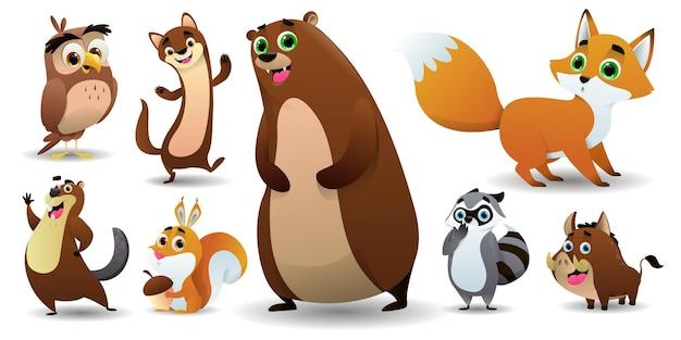 Kolekcja kreskówka słodkie zwierzęta leśne