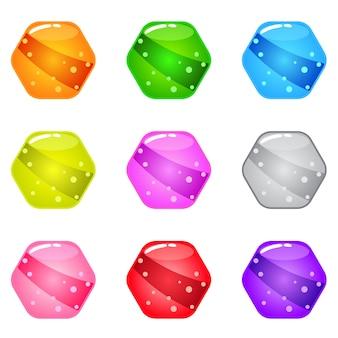 Kolekcja kreskówka sześciokątny błyszczący kształt z galaretką w różnych kolorach.