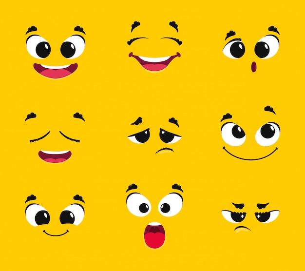 Kolekcja kreskówka twarze. różne emocje uśmiech radość niespodzianka smutek gniew tęsknota strach wektor emotikony