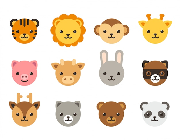 Kolekcja kreskówka twarze zwierząt