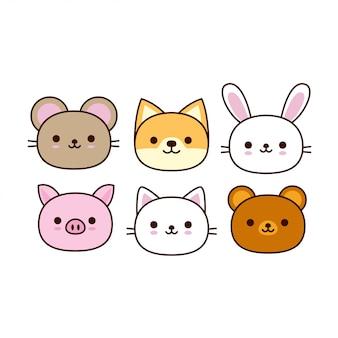 Kolekcja kreskówka zwierząt cute
