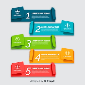 Kolekcja kroki infografiki płaskie