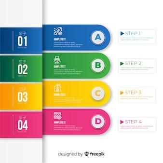 Kolekcja kroki płaski kolorowy infographic