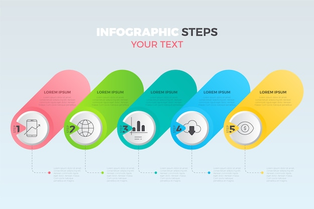 Kolekcja kroki płaskie infografikę