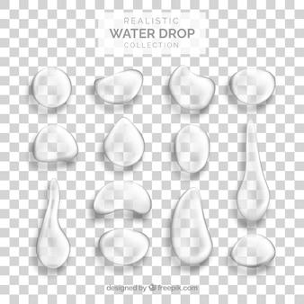 Kolekcja kropli wody w realistycznym stylu