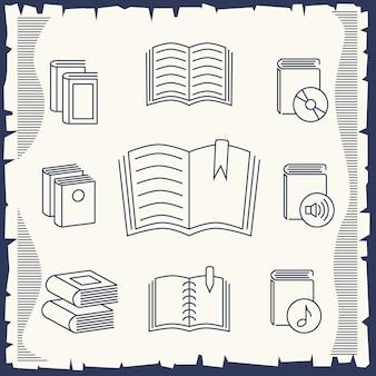 Kolekcja książek cienka linia na vintage