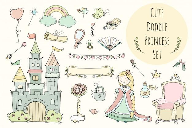 Kolekcja księżniczki kreskówka z tronem, zamek, biżuteria, korona.