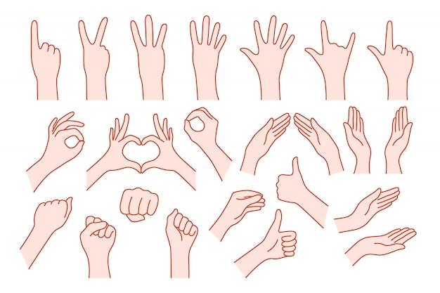 Kolekcja kształt dłoni jak gest. koncepcja pomocy stop lub symbolu rocka v, prawa lub lewa, animowana liczba jeden, dwa, trzy, cztery, pięć, zero