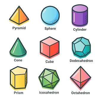 Kolekcja kształtów geometrycznych w modnym stylu z płaskim konturem.