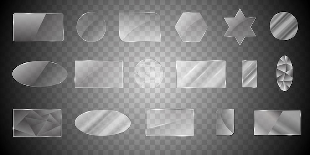 Kolekcja kształtów szkła