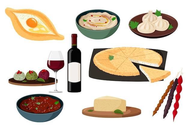 Kolekcja kuchni gruzińskiej. zestaw realistycznych ilustracji z tradycyjnymi potrawami gruzji.